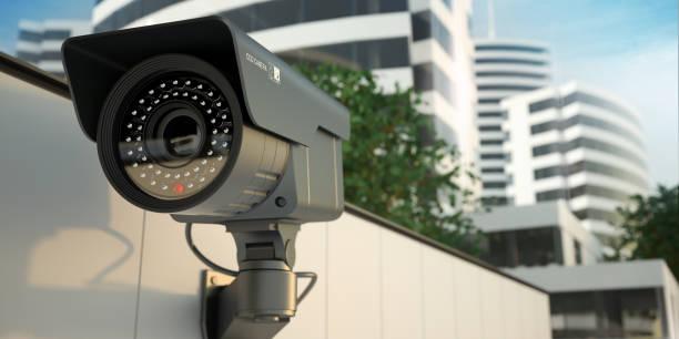 bewakingscamera, 3d illustratie - bewakingscamera stockfoto's en -beelden