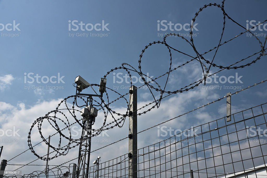 Security Camera and Barb Wire royalty-free stock photo