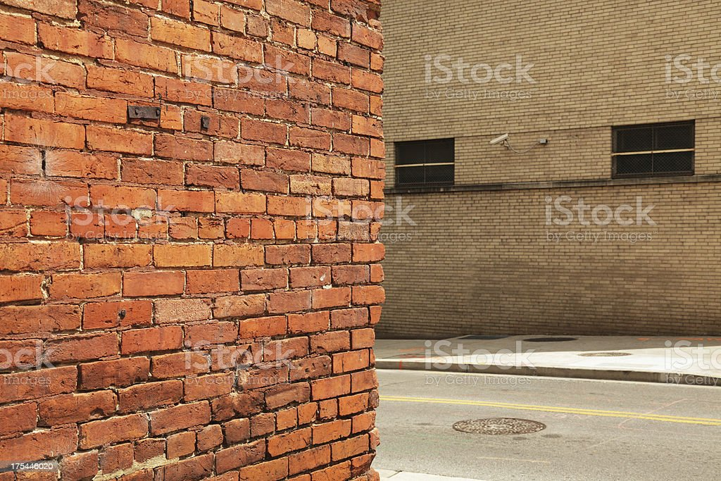 Security Camera and Corner of Old Brick Wall stock photo