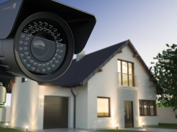 Security camera and house Home security system security equipment stock pictures, royalty-free photos & images