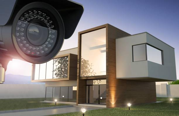 Sicherheitskamera und modernes Haus-Illustration 3D – Foto