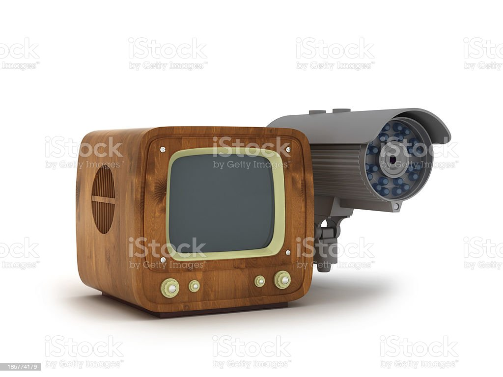 Security camera and retro tv royalty-free stock photo