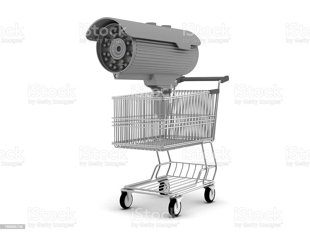 Security camera and shopping cart royalty-free stock photo