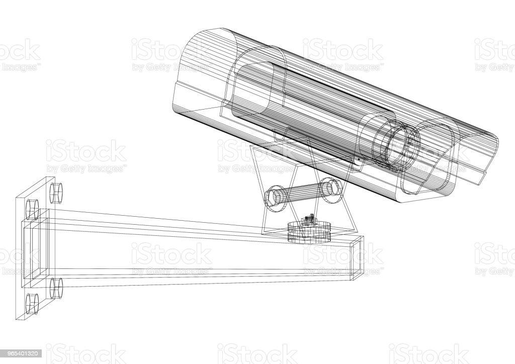 Security Camera Architect blueprint - isolated royalty-free stock photo