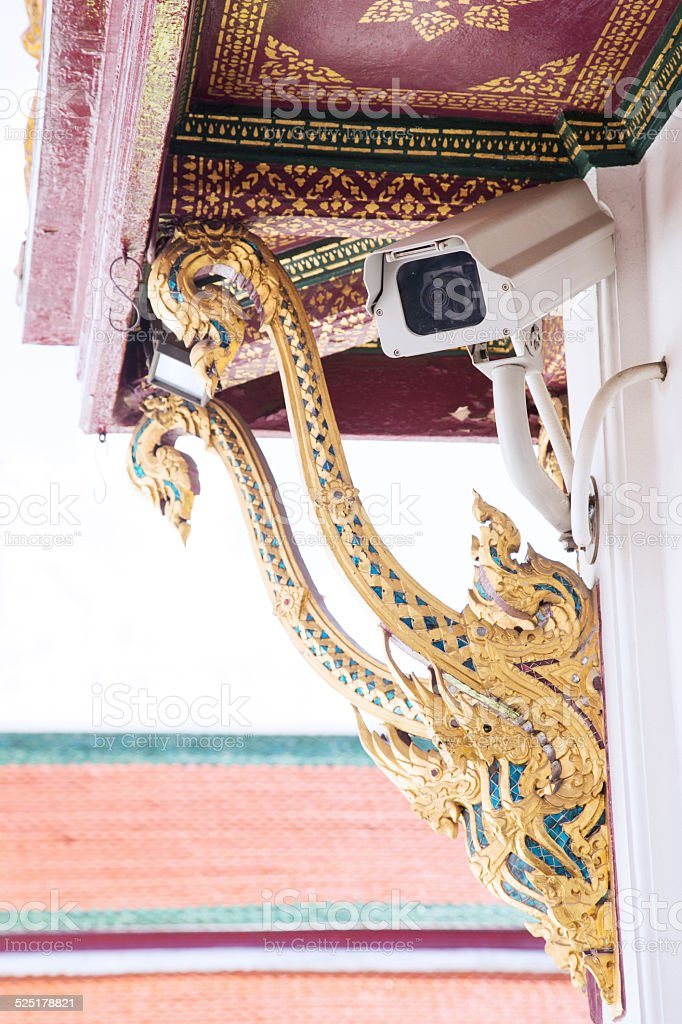 security camera at thai temple in Thailand stock photo