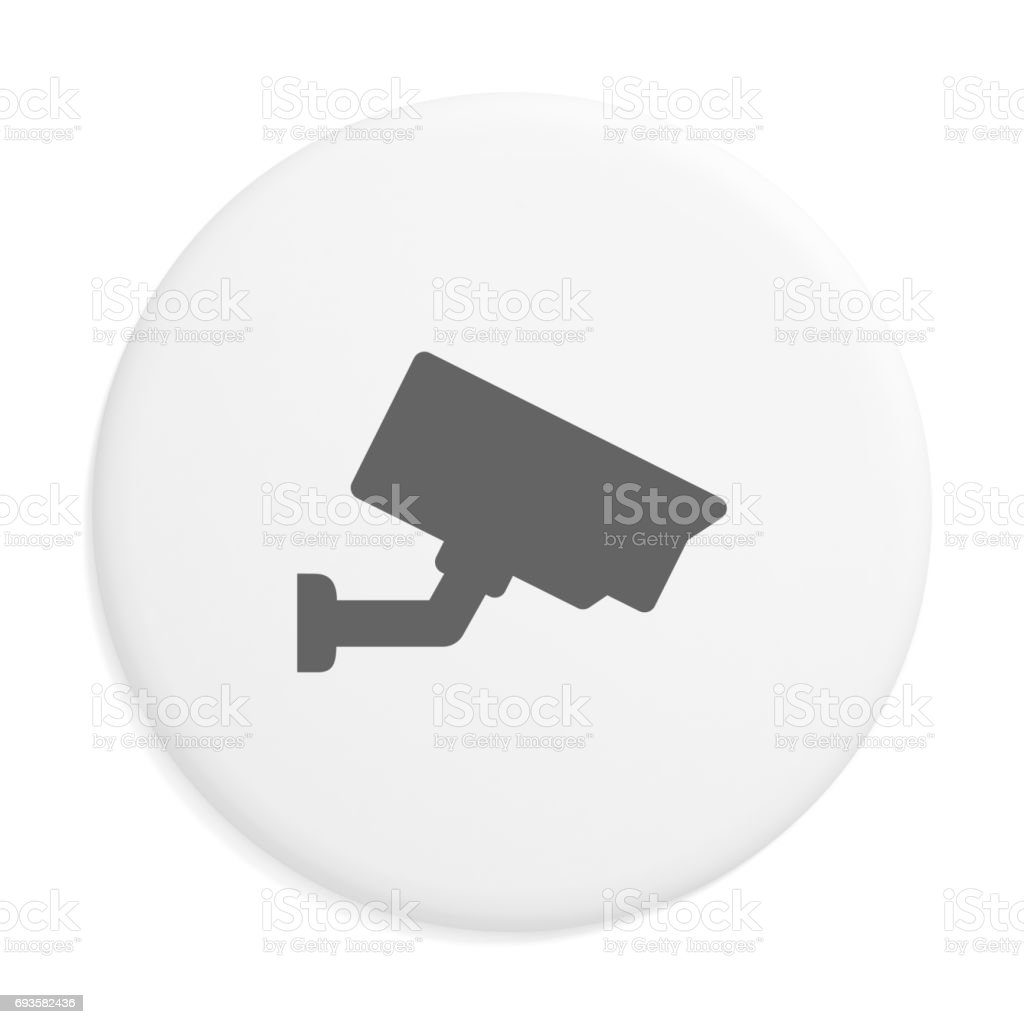 CCTV security camera badge isolated stock photo