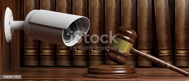 istock Security Camera CCTV on  on blur lawyer office background. 3d illustration 1093972322