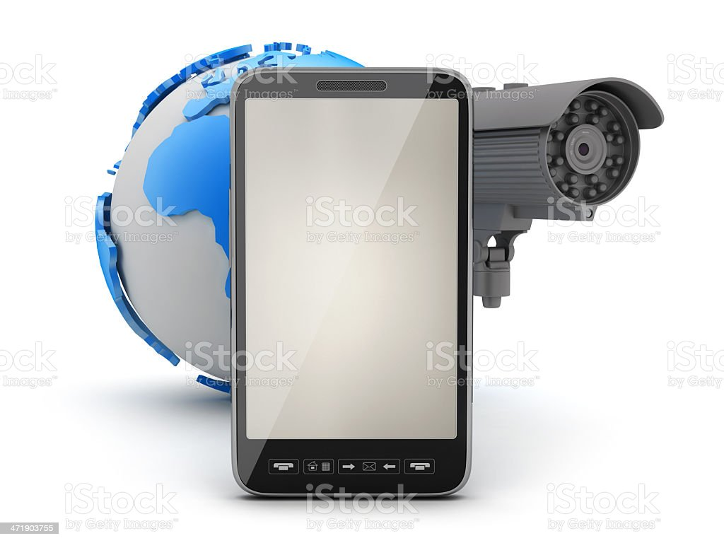 Security camera, cell phone and earth globe royalty-free stock photo