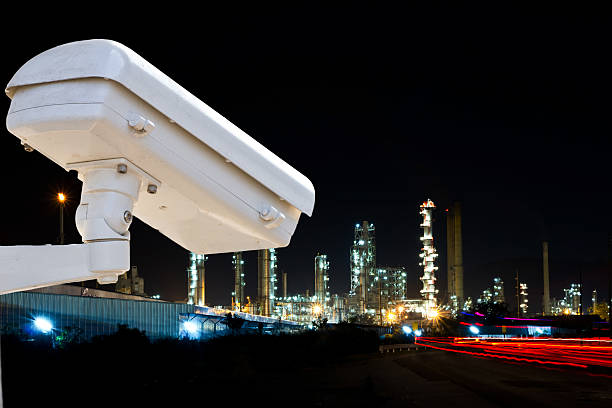 Security camera detects the movement of traffic. Skyscraper rooftop. stock photo