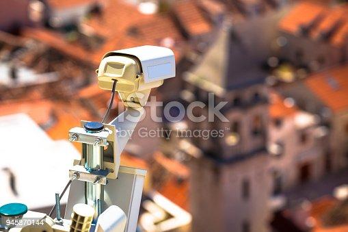 Security camera in historic town center of Omis, Dalmatia region of Croatia