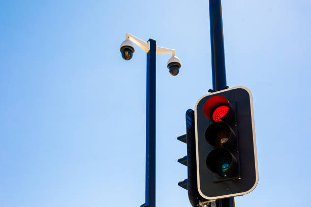 Security Camera Installation And Traffic Light stock photo