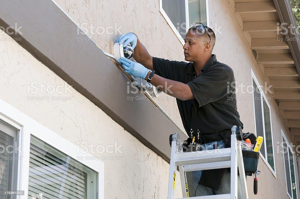 Security Camera Installation royalty-free stock photo
