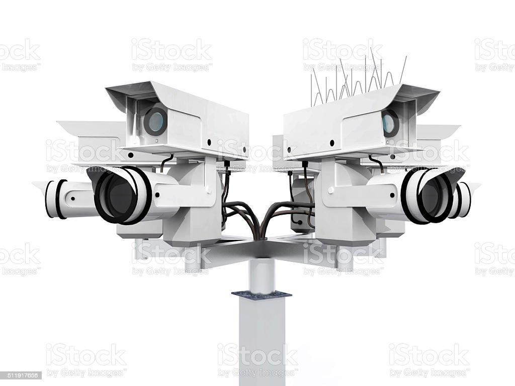 Security camera isolated on white background stock photo