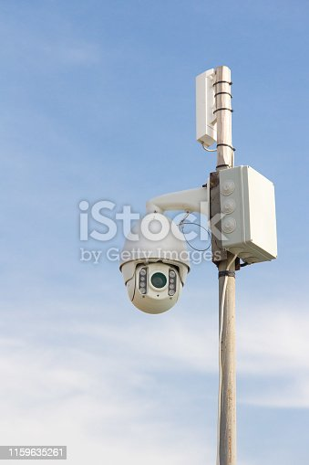 istock Security Camera on a blue sky background. 1159635261