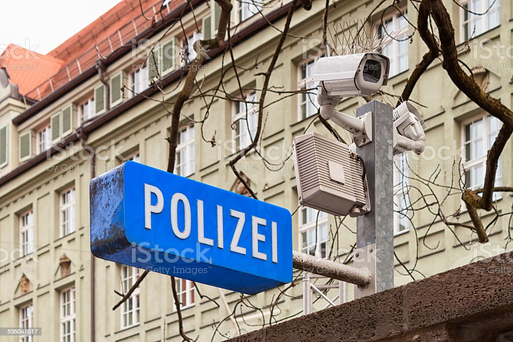 Security camera on a german police station stock photo