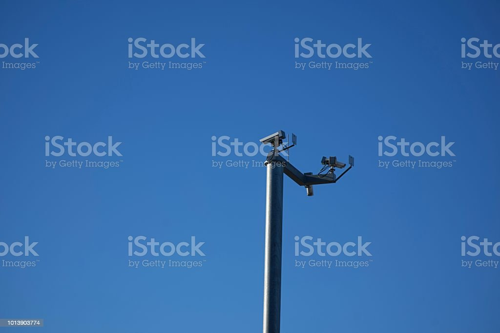 Security camera on a pole in Germany stock photo