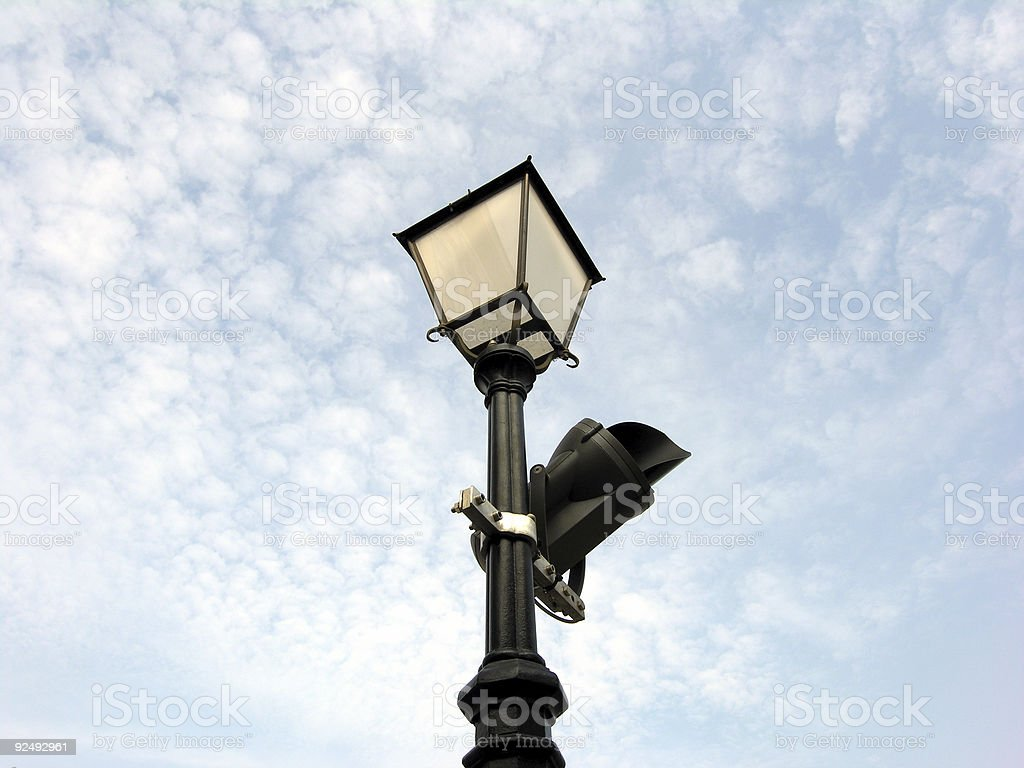Security Camera on Lamp royalty-free stock photo