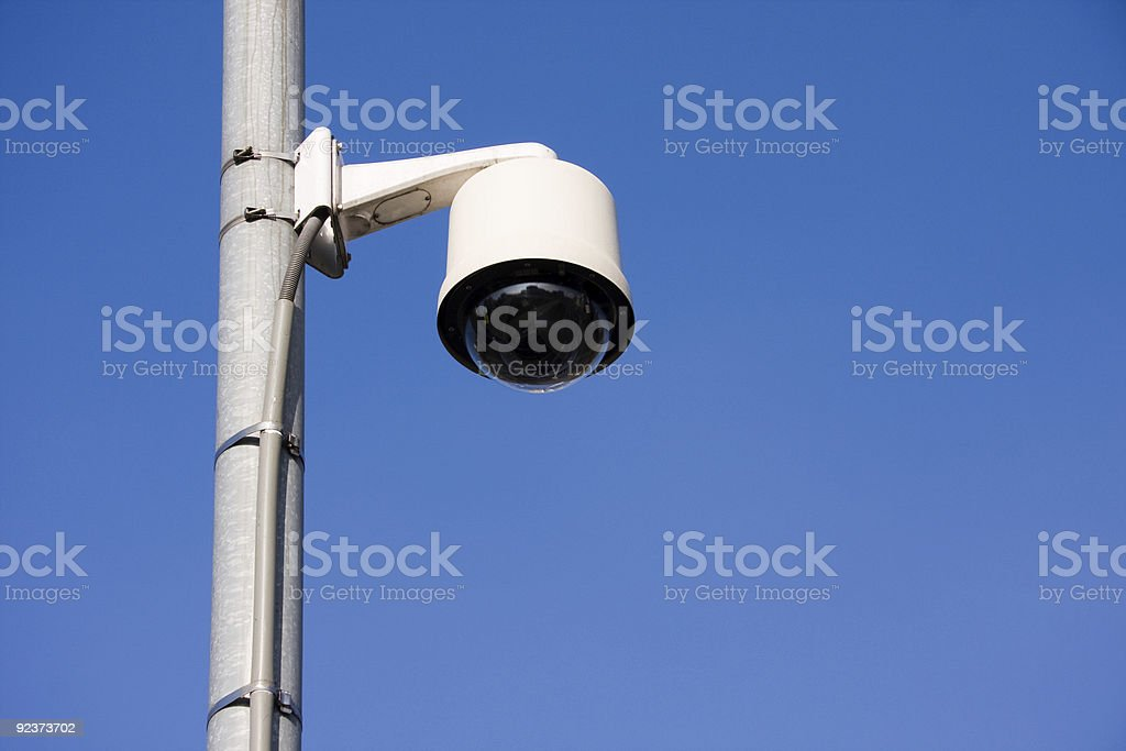 Security camera on post royalty-free stock photo
