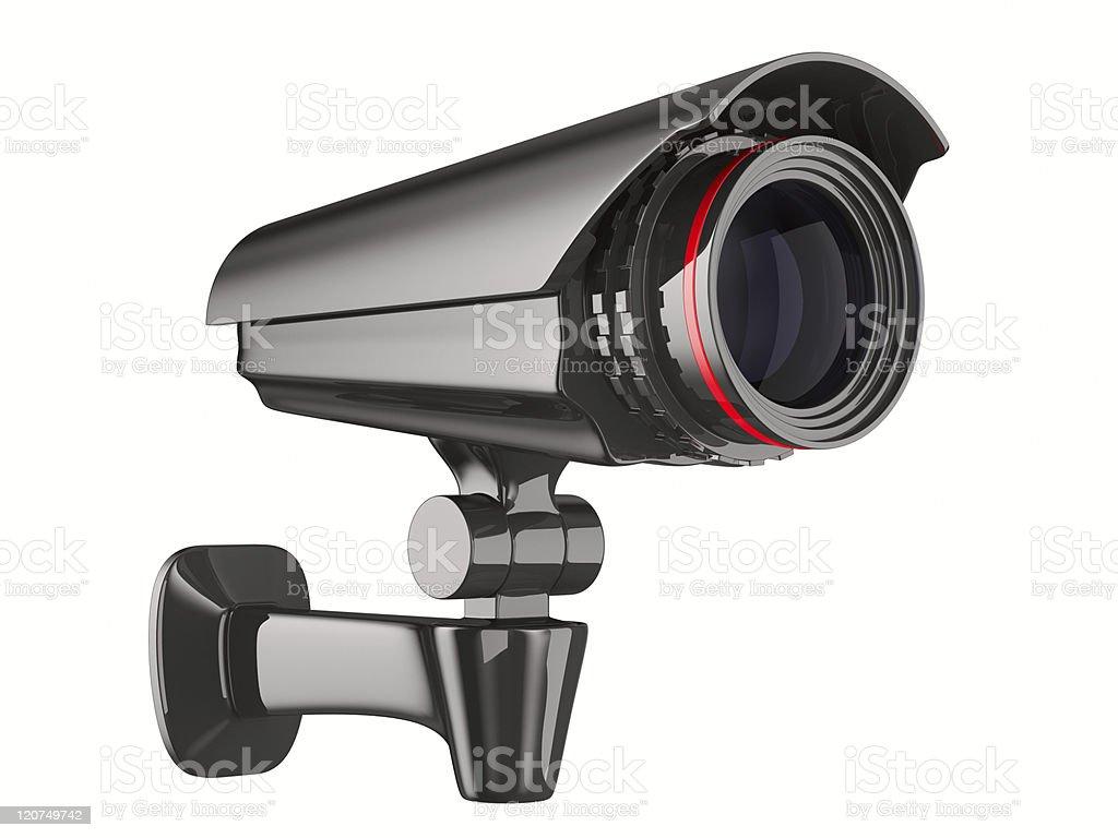 Sicherheits-Kamera auf weißem Hintergrund.   Isolierte 3D-Bild – Foto