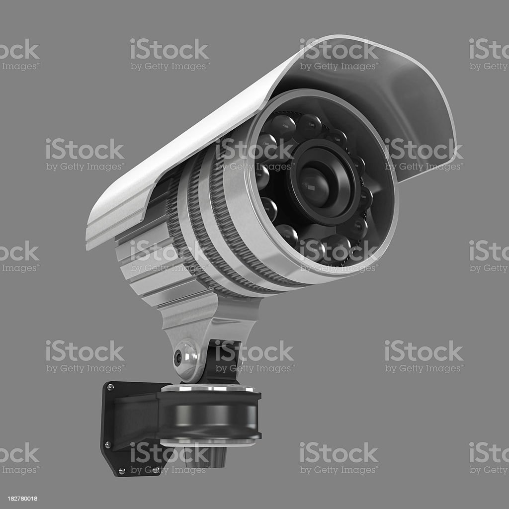 Big brother security camera on white background wall stock photo.