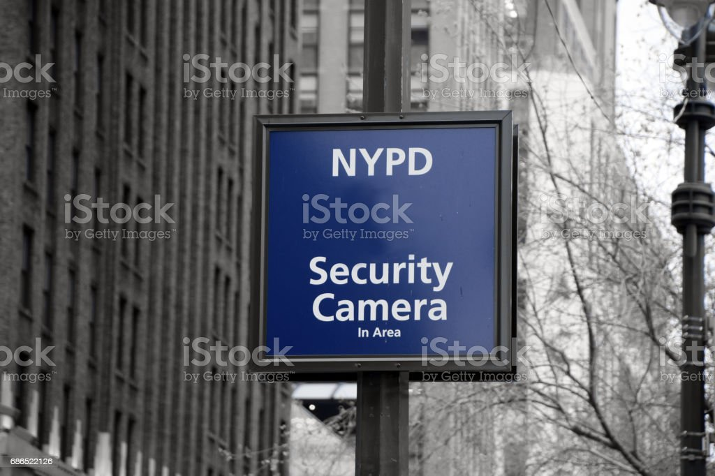 Security camera sign-  New York foto stock royalty-free