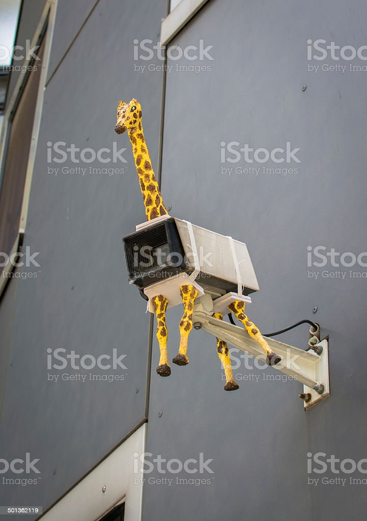Security camera with giraffe stock photo