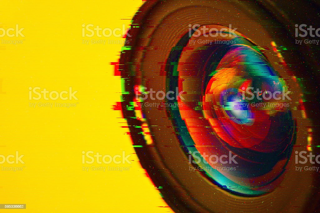 security camera with glitch stock photo