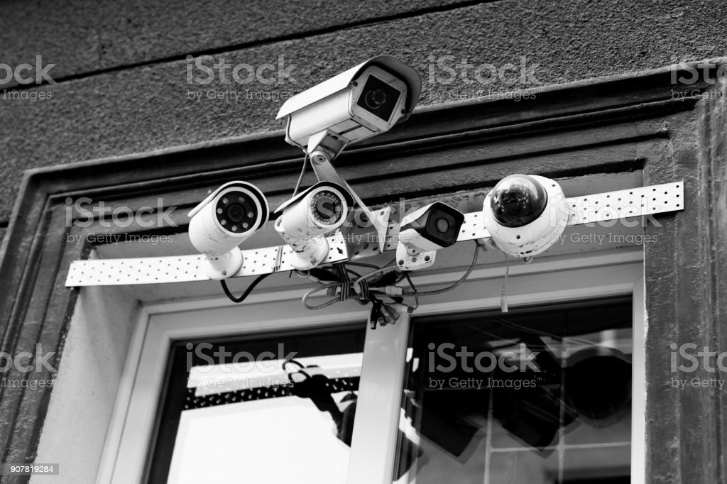 Five cameras mounted by the window. No people. Cracov in Poland.