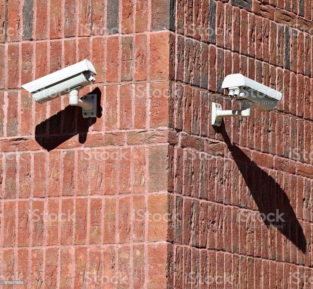 Security cameras on the wall stock photo