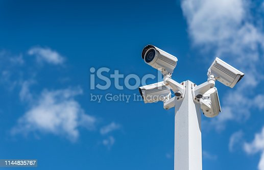 Bunch of security cameras watching the city.