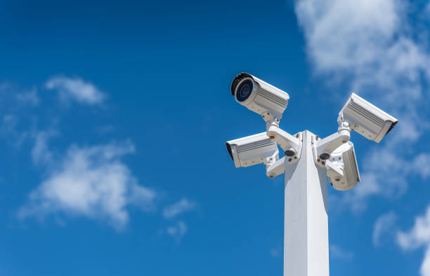 security cameras - big brother orwellian concept stock pictures, royalty-free photos & images