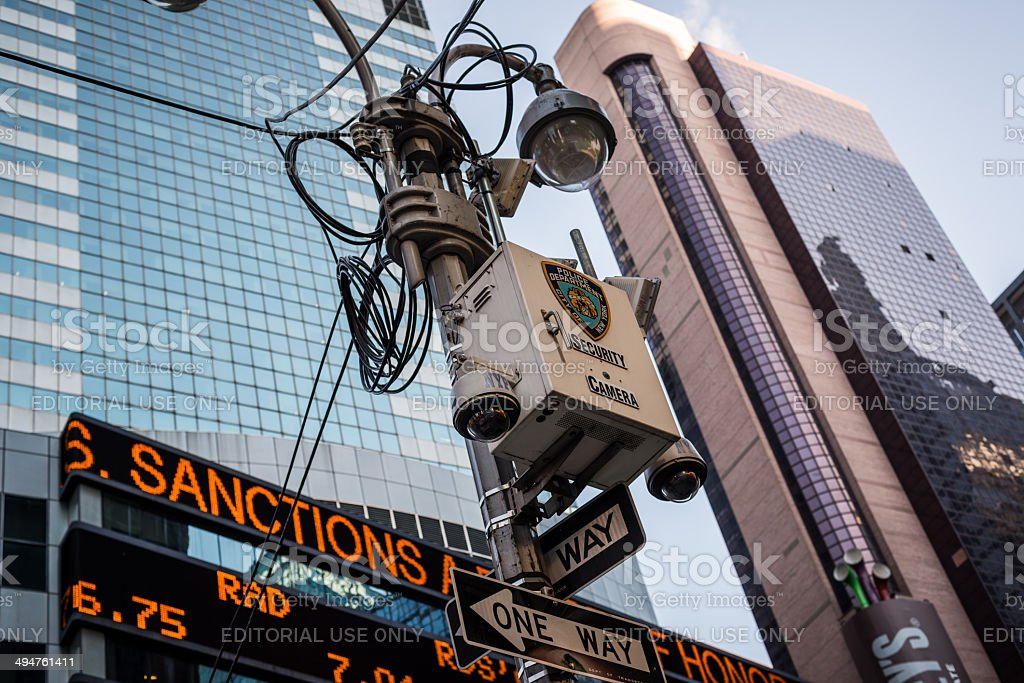 security cameras Times Square NYC NYPD stock photo