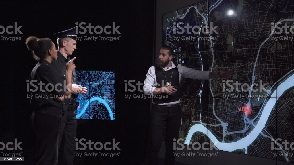 Security chase gangster on electronic map stock photo