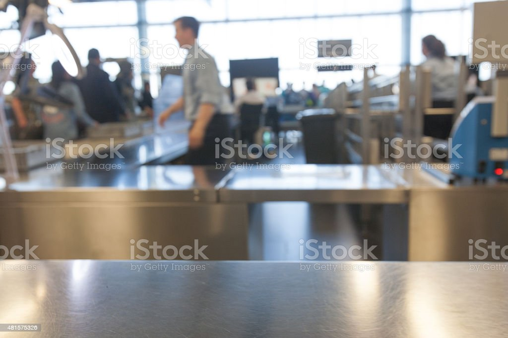 Security check at an airport stock photo