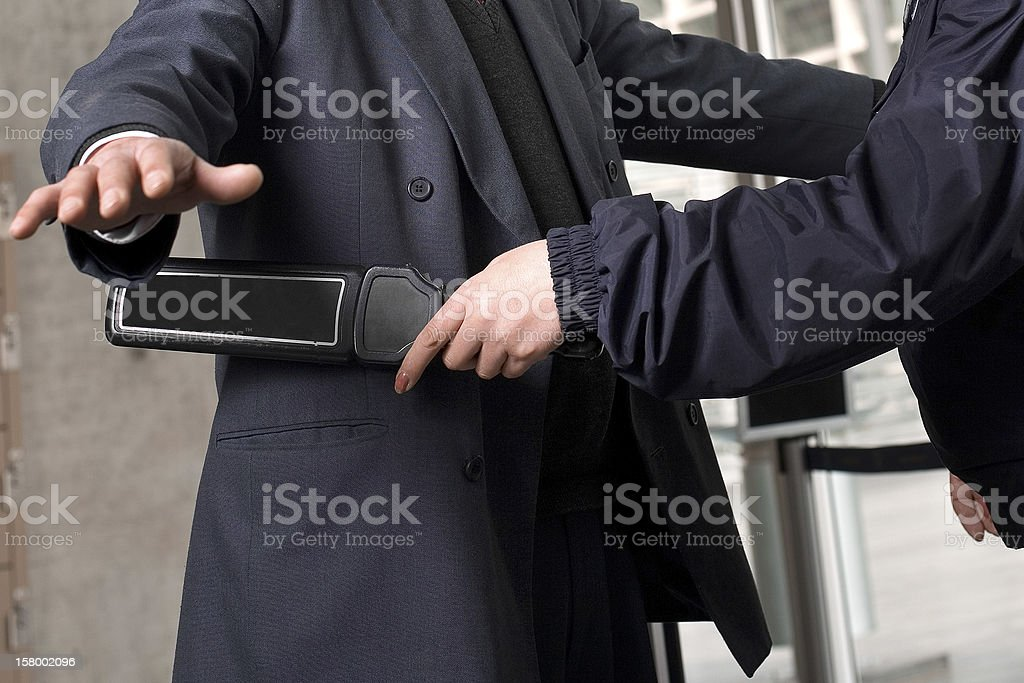 Security check at the airport looking for bombs stock photo