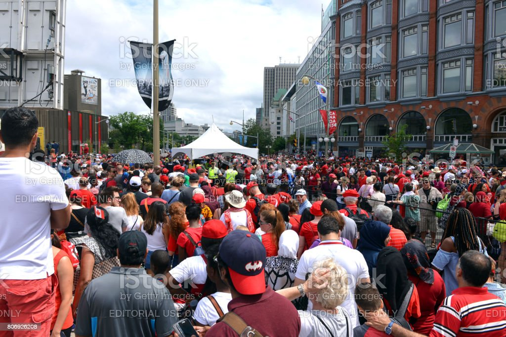 Security check lines for Canada Day in Ottawa stock photo