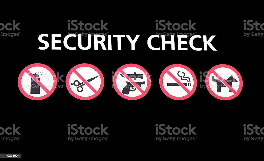 Security check sign stock photo
