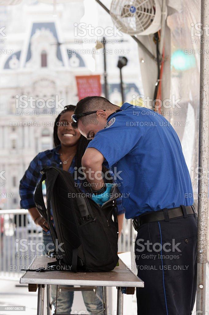 TSA Security Checkpoint at Papal Visit, Philadelphia, PA stock photo