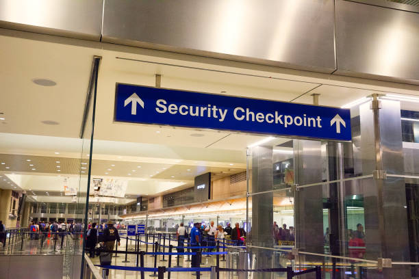 Security Checkpoint sign at the airport stock photo