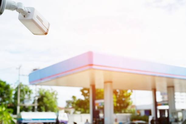 Security closed circuit camera Gas station. stock photo