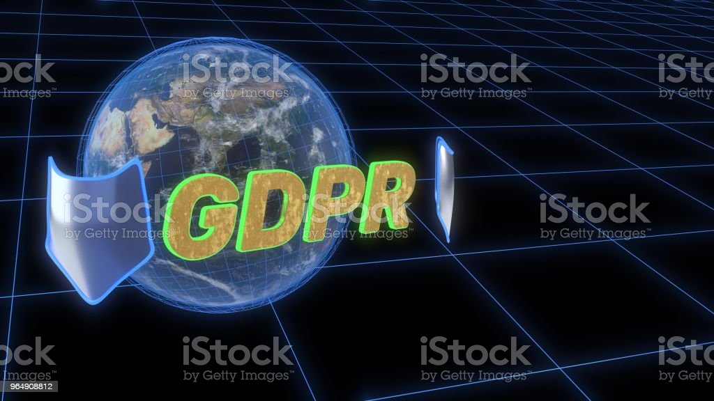 GDPR security concept background, 3d rendering - Royalty-free Adult Stock Photo