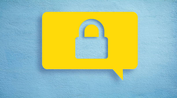 Security concept chat bubble. stock photo