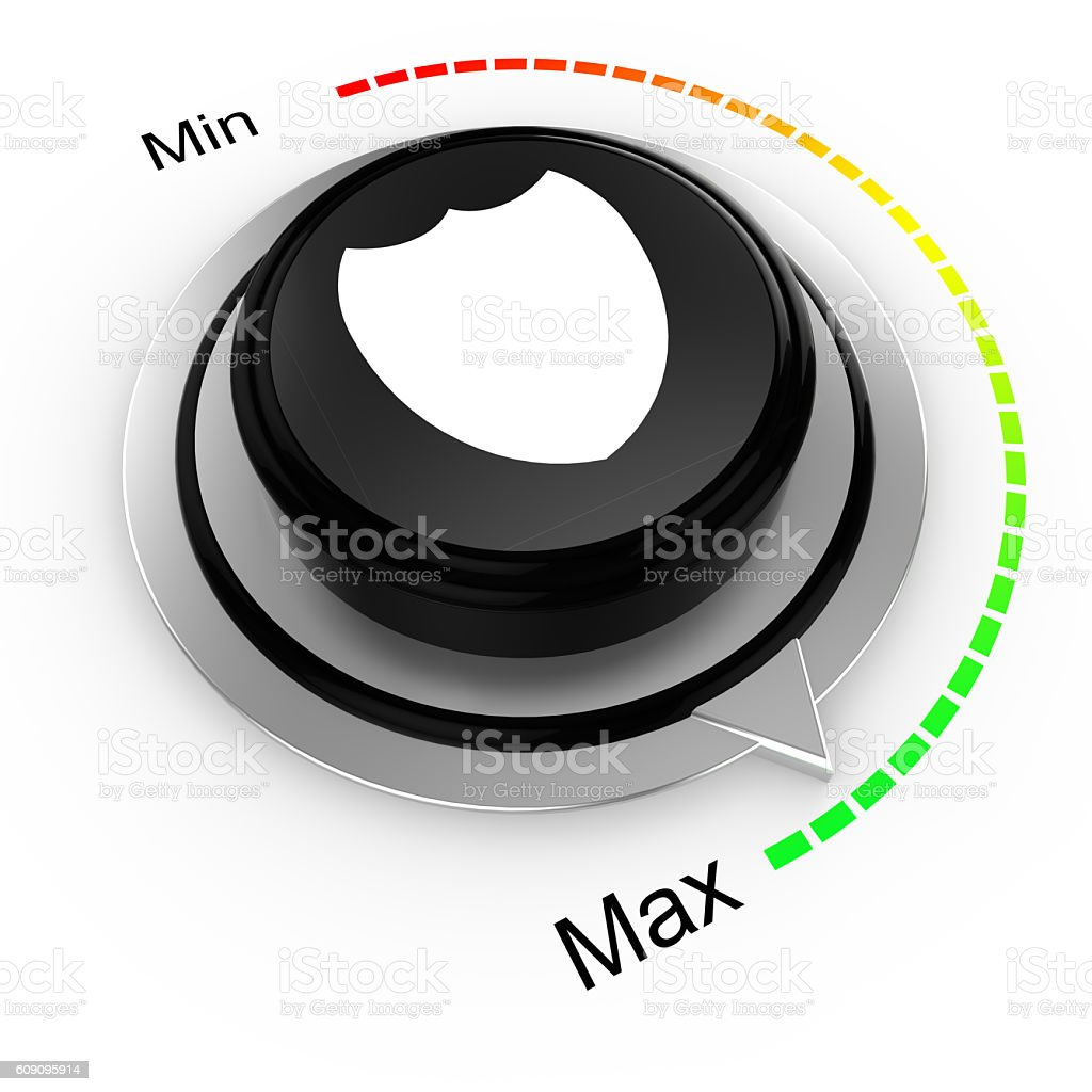 Security concept cybersecurity rotary knob stock photo