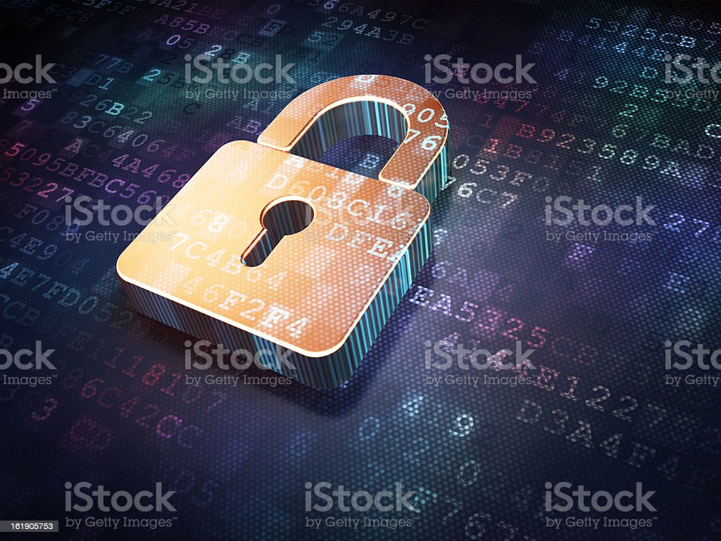 Security concept: Golden closed padlock on digital background stock photo