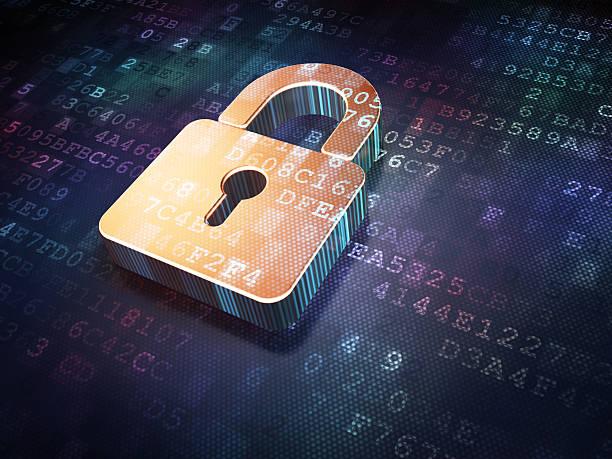 conceito de segurança: cadeado fechado de ouro sobre fundo digital - computador cadeado - fotografias e filmes do acervo