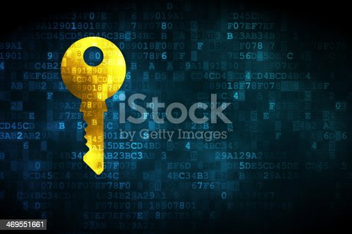Security concept: pixelated Key icon on digital background, empty copyspace for card, text, advertising, 3d render