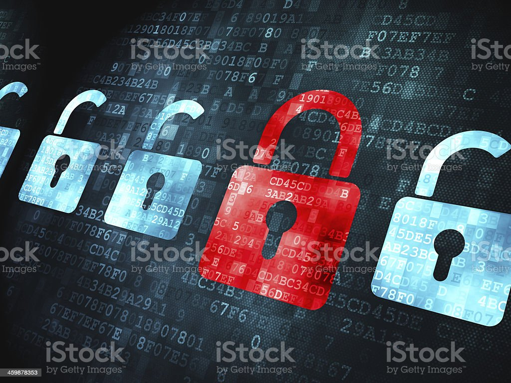 Security concept: Locks on digital background stock photo