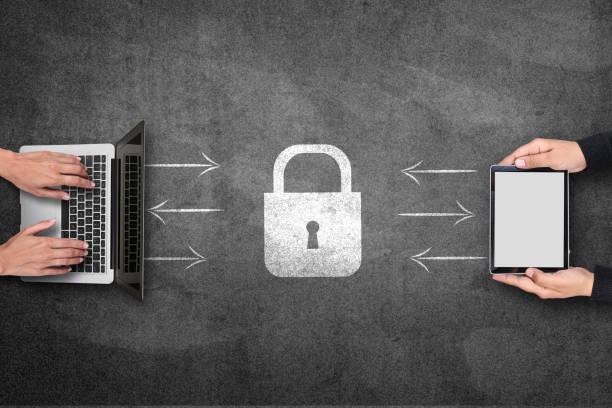 Security concept on blackboard stock photo