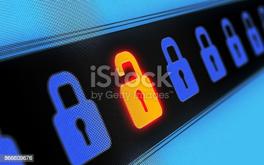 Security concept on digital screen. Locks in a row depicting vulnerability to phishing and spamming. Horizontal composition with copy sapce.