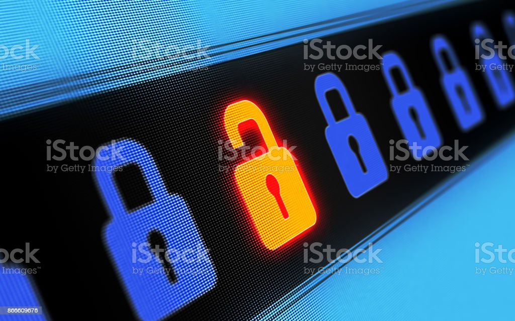 Security Concept On Digital Screen stock photo